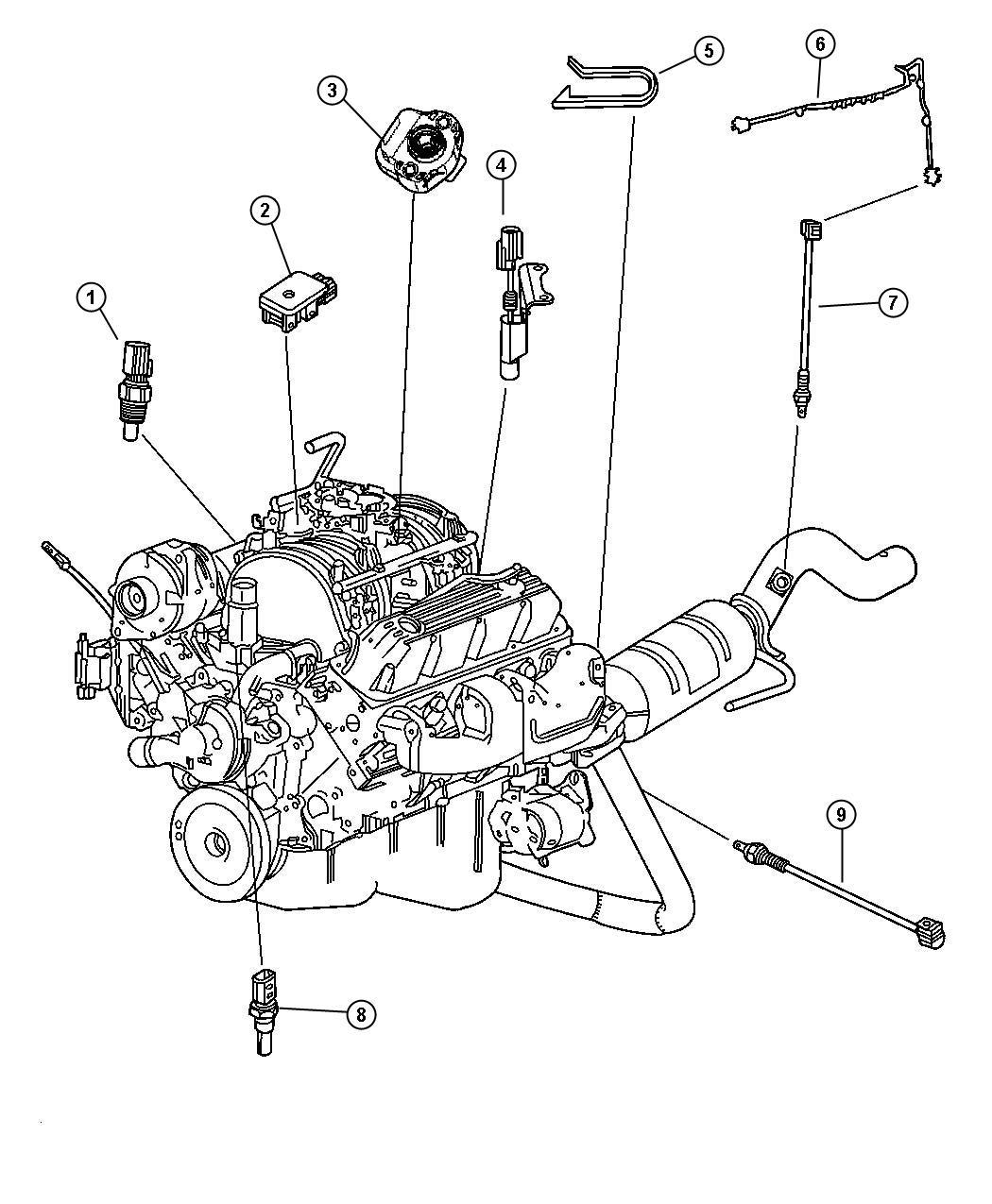 2000 Dodge Dakota QUAD CAB 4.7L V8 A/T Sensor, sensor kit