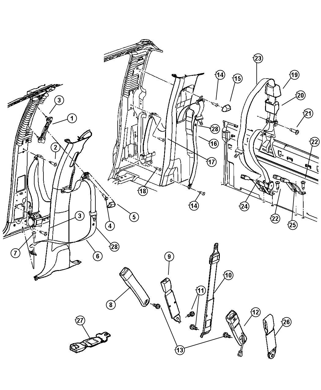Dodge Ram 2500 Seat belt. Rear. [l5], after 8/26/02. Trim