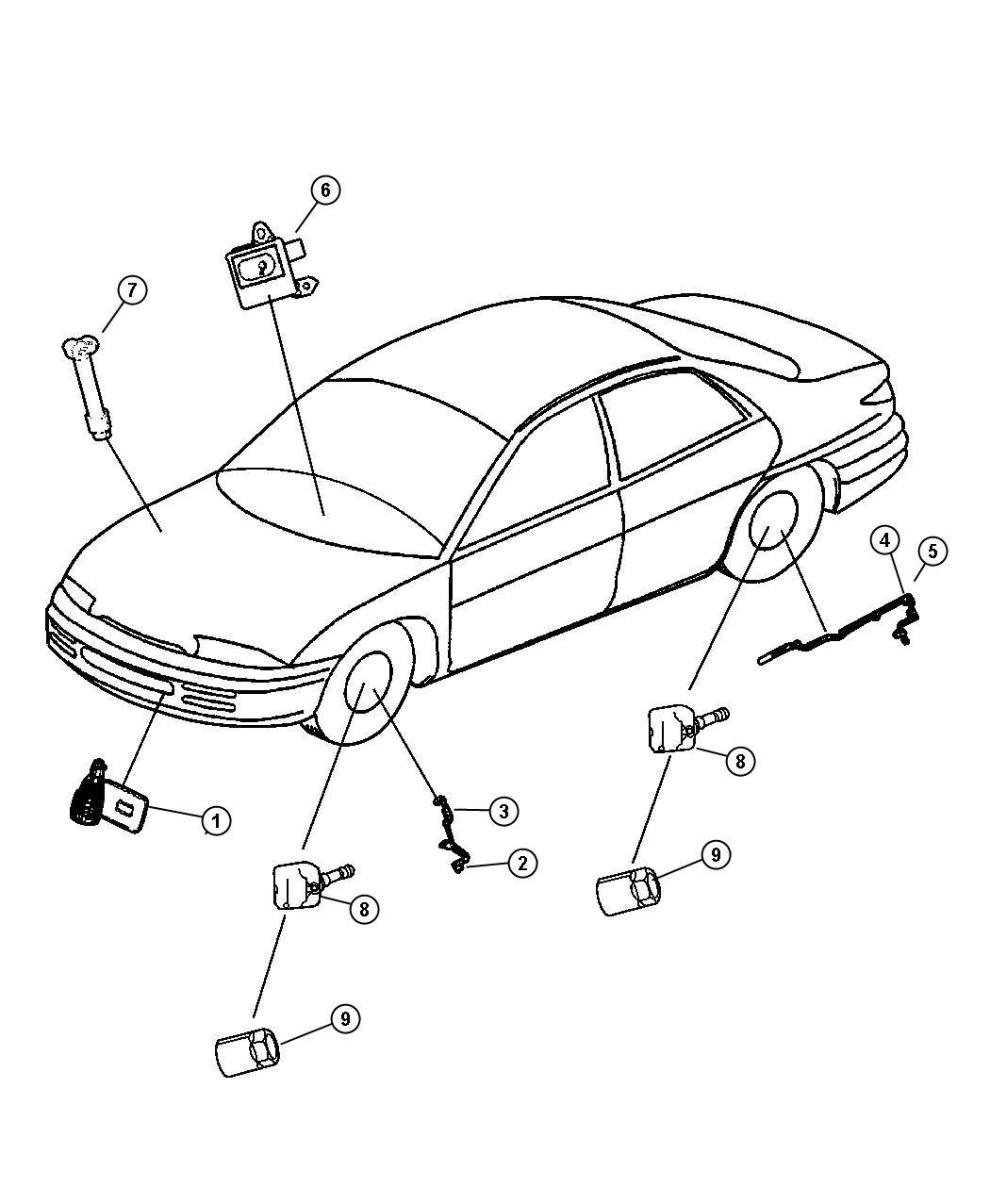 Chrysler 300 Sensor Tire Pressure Valve Stem