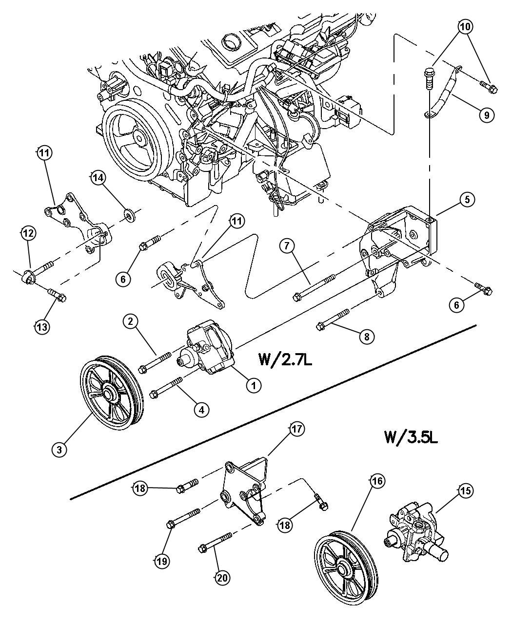 Chrysler Concorde Pulley. Power steering pump. Assys