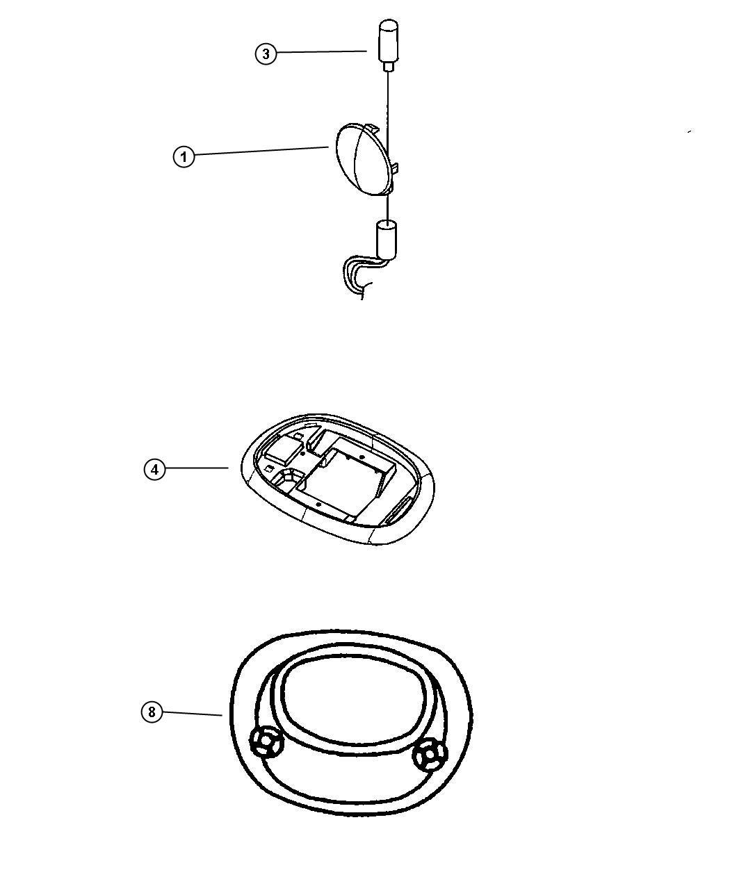 Chrysler Pt Cruiser Bulb. Dome lamp. 6 watt, over head