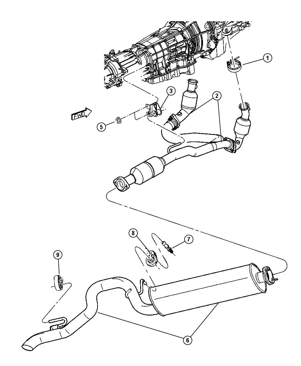 Jeep Liberty Used for: MUFFLER AND TAILPIPE. Exhaust