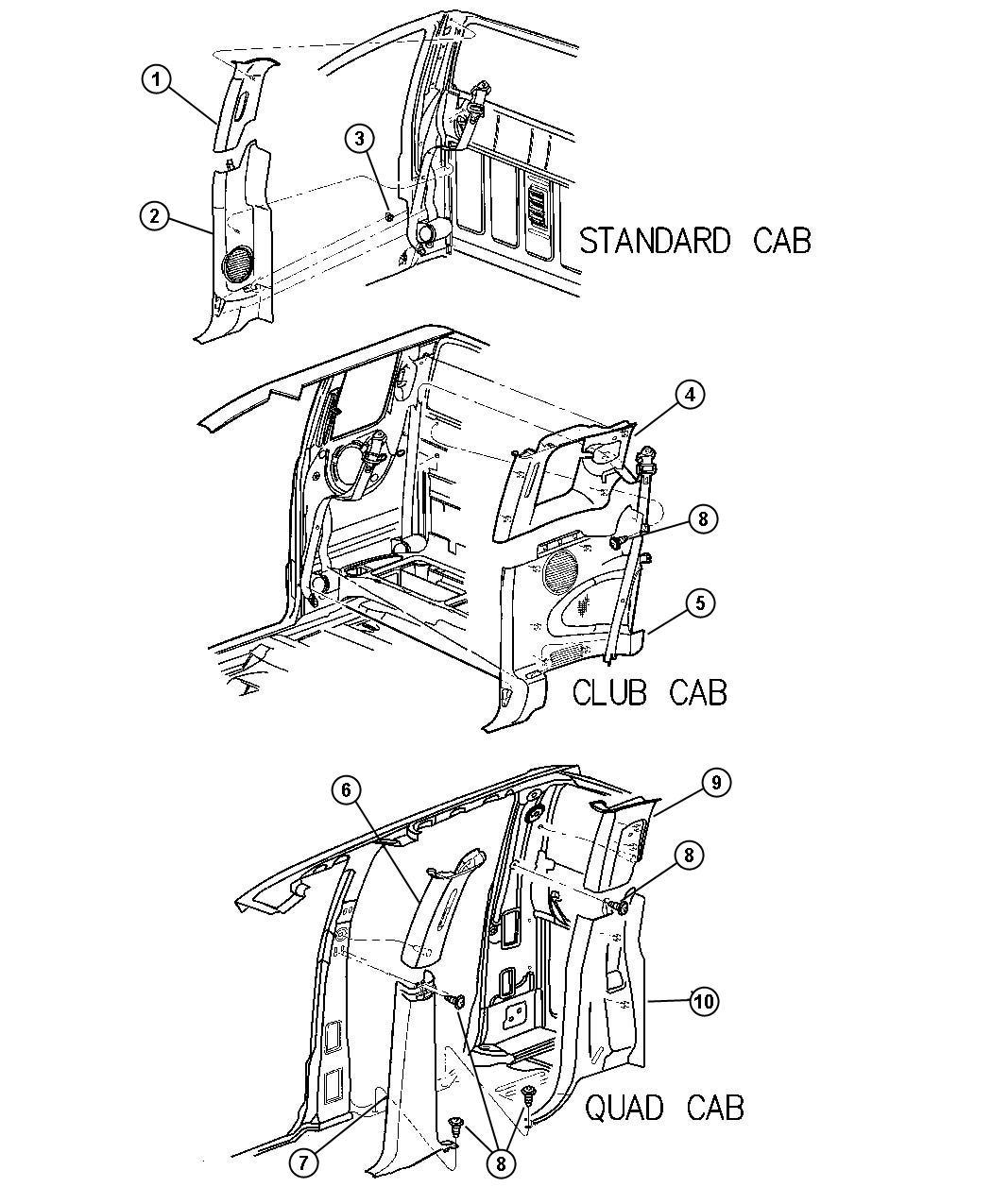Dodge Dakota Panel. B pillar upper trim. Left. Trim: [all