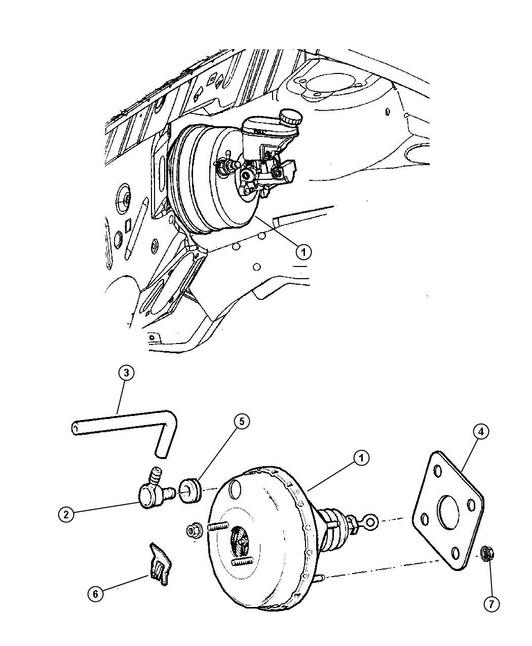 Chrysler Pt Cruiser Hose. Brake booster, brake booster