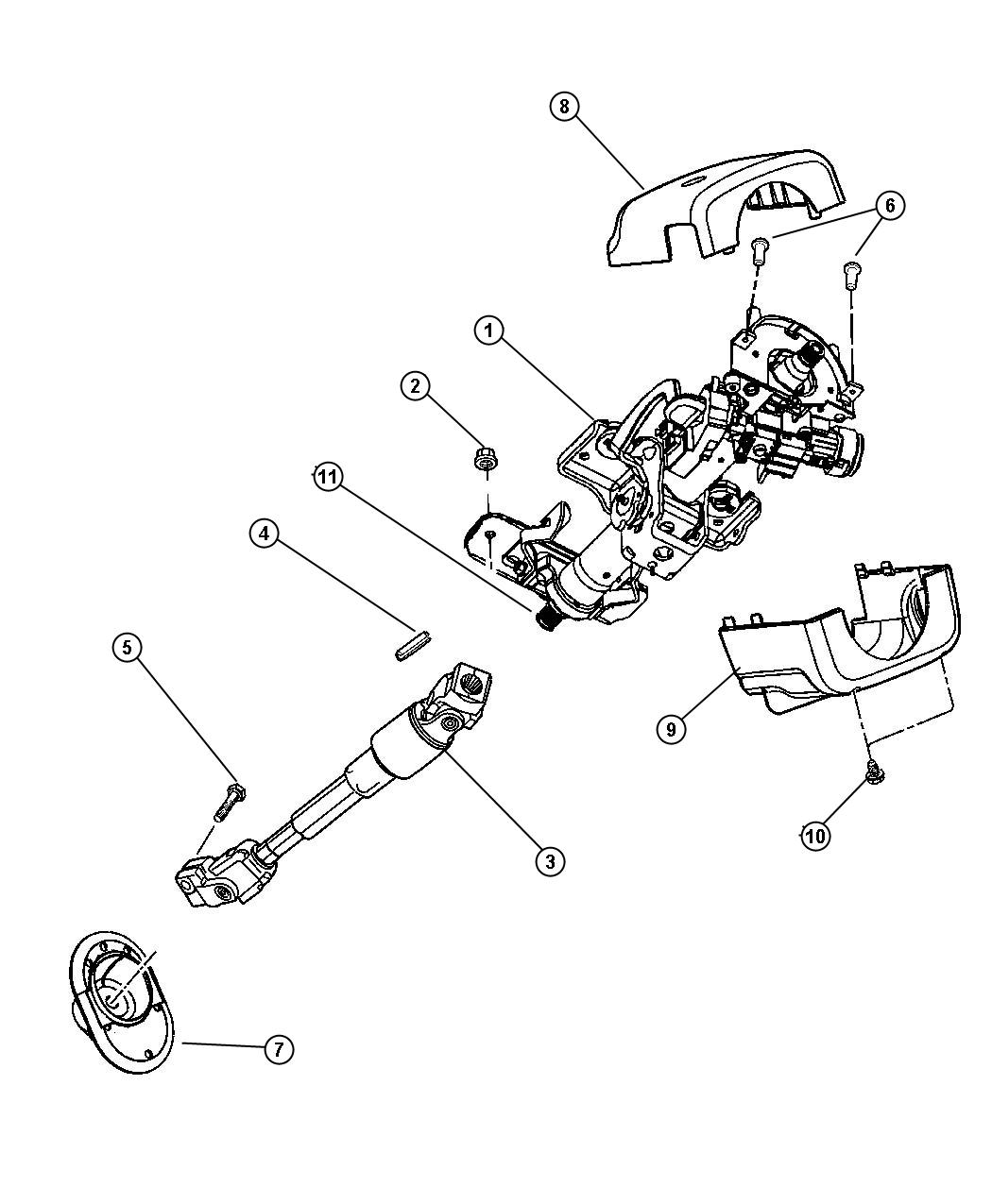 Dodge Stratus Shroud. Steering column. Lower. [bp], [bt