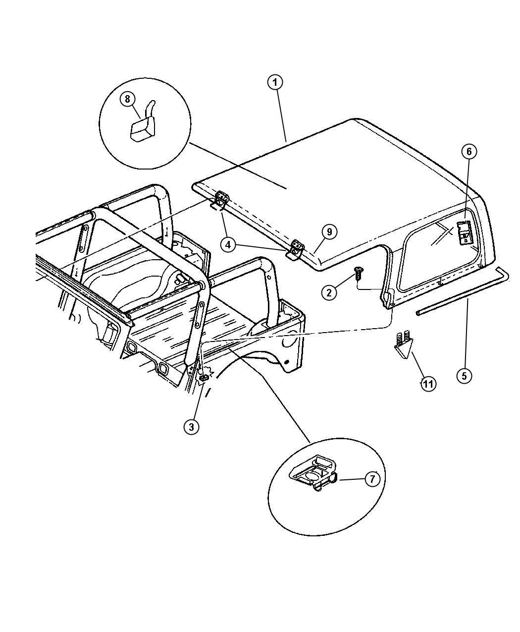 Jeep Wrangler Panel. Rear header. [med. Gray hard top