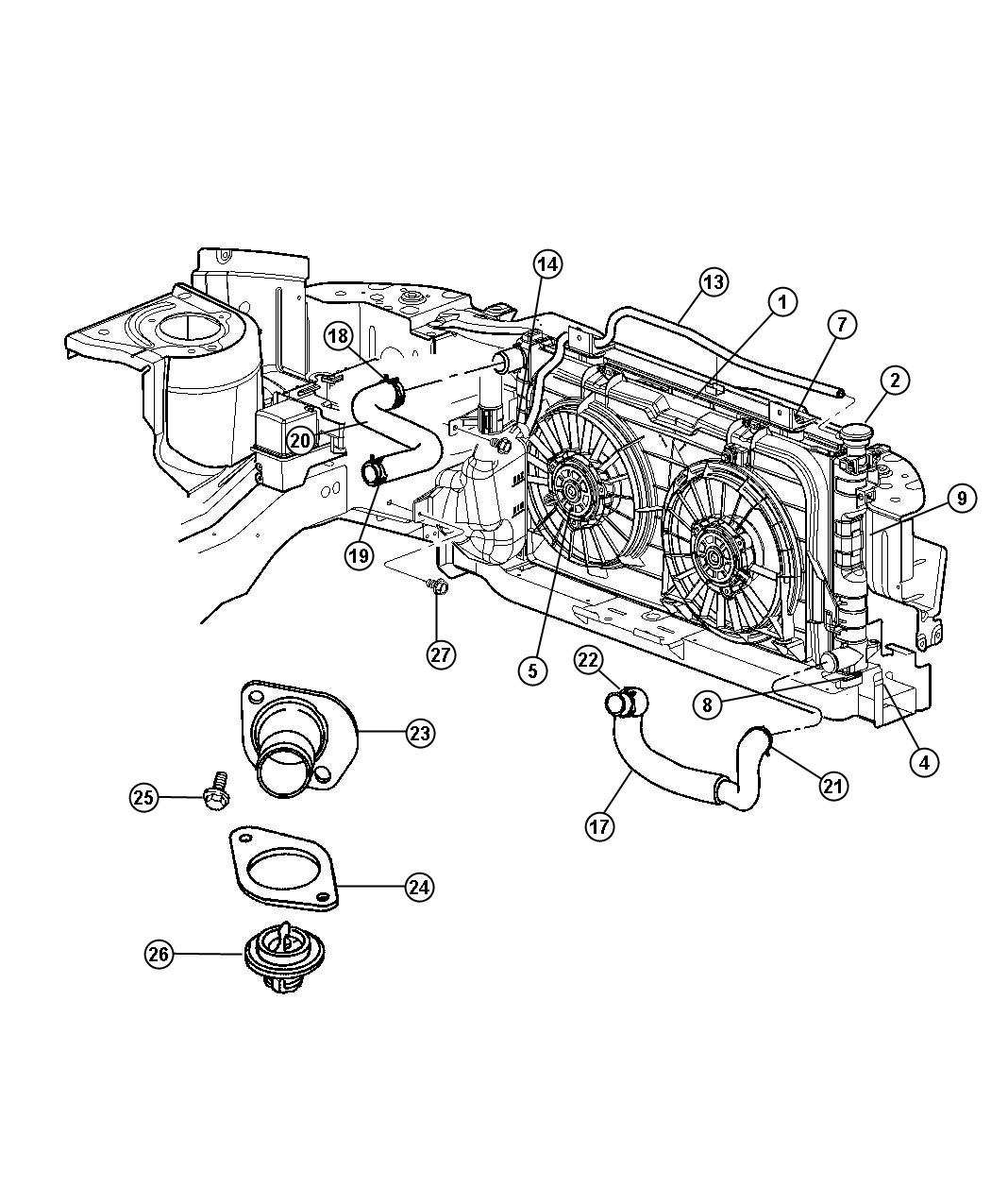 Dodge Grand Caravan Fan module. Radiator cooling. Right