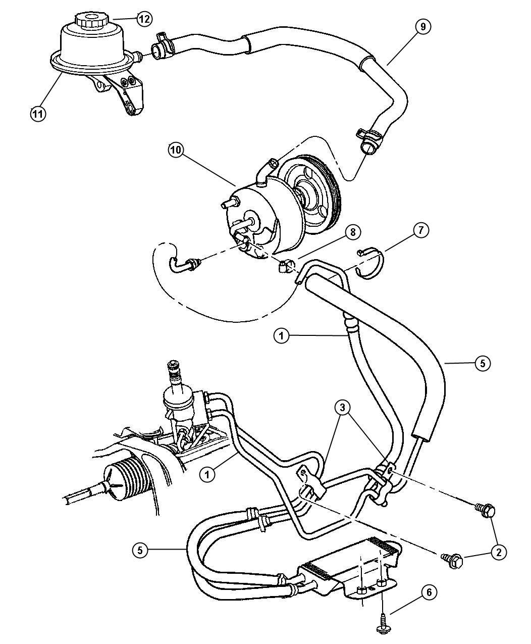 Chrysler Voyager Hose. Power steering. Reservoir to pump