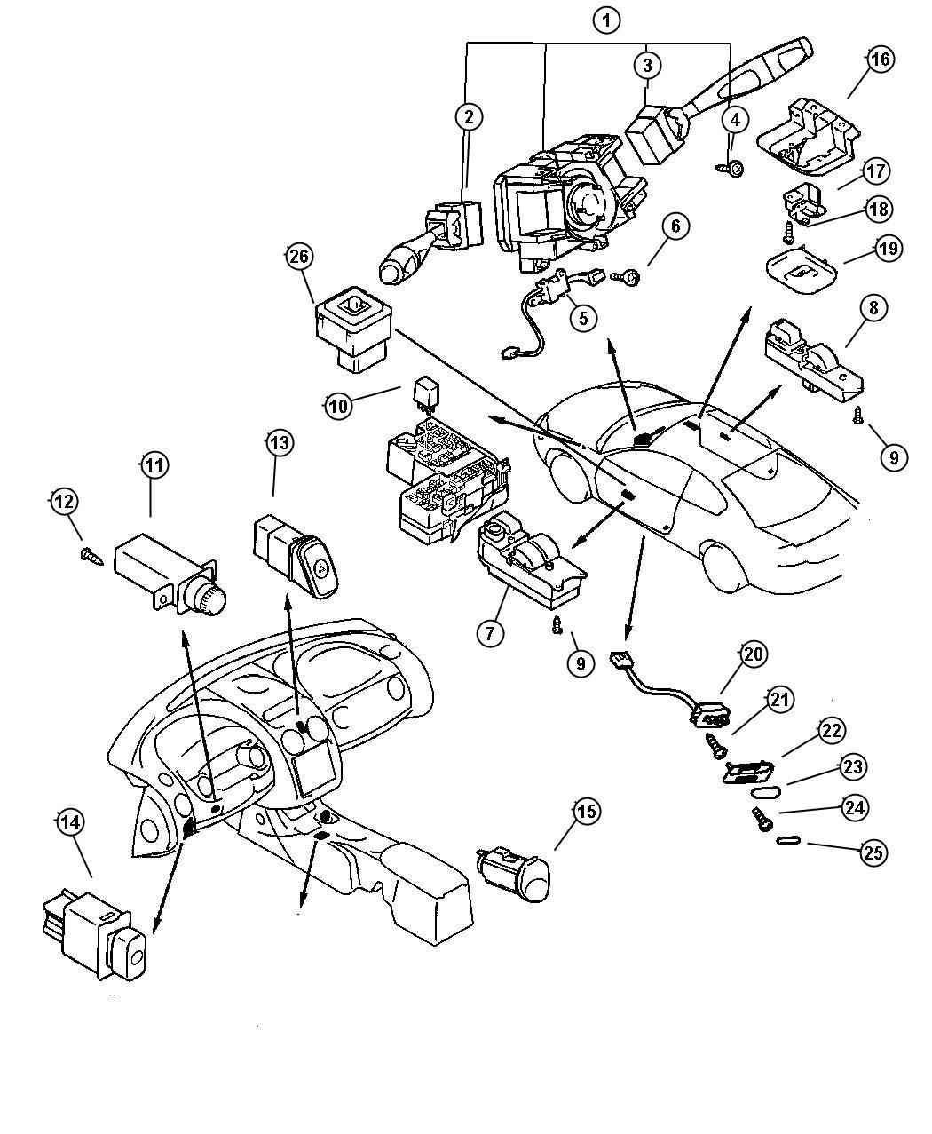 Chrysler Sebring Switch Steering Wheel Remote Left