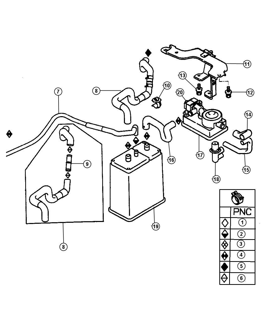 Chrysler Sebring Valve. Fuel vapor control check. [lx