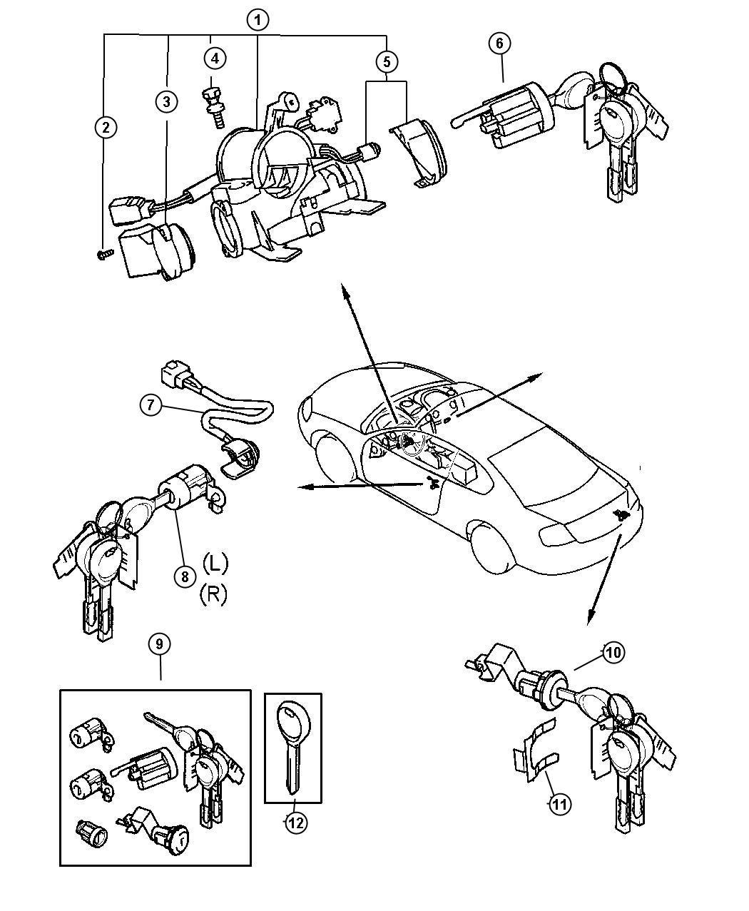 Chrysler Sebring Cylinder. Key set. [4-speed automatic