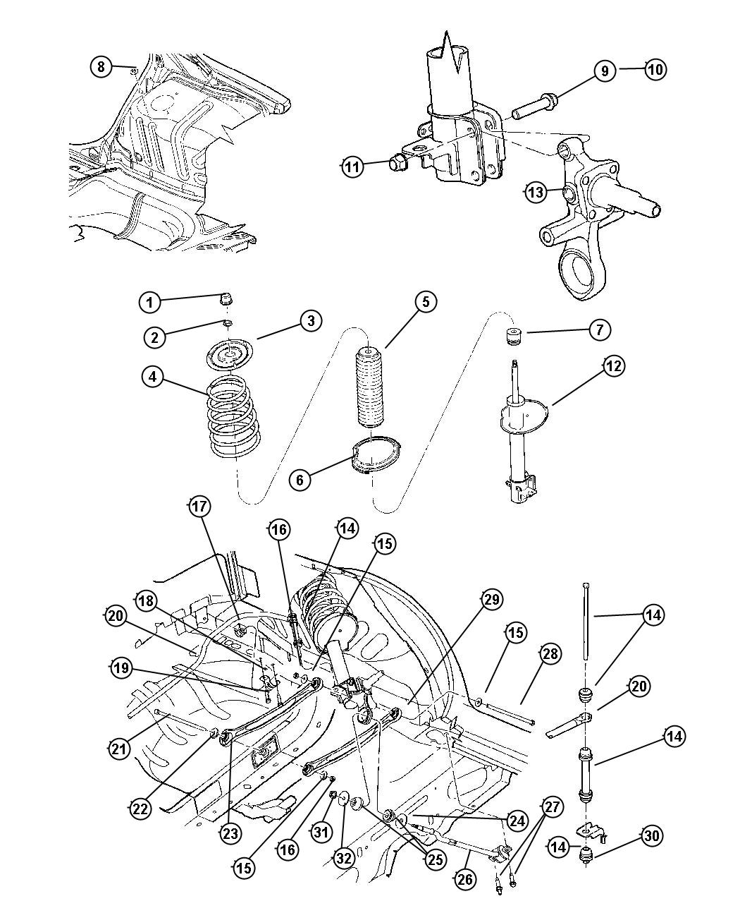 Dodge Neon Bolt Strut To Knuckle Hex Head Clevis