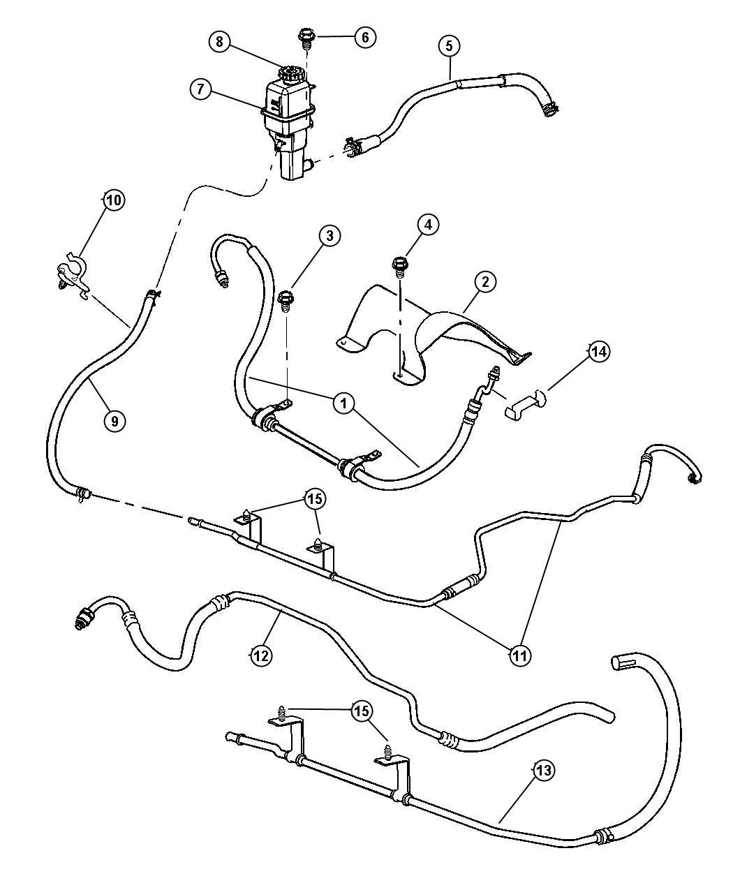 Chrysler Sebring Hose. Power steering reservoir. Return