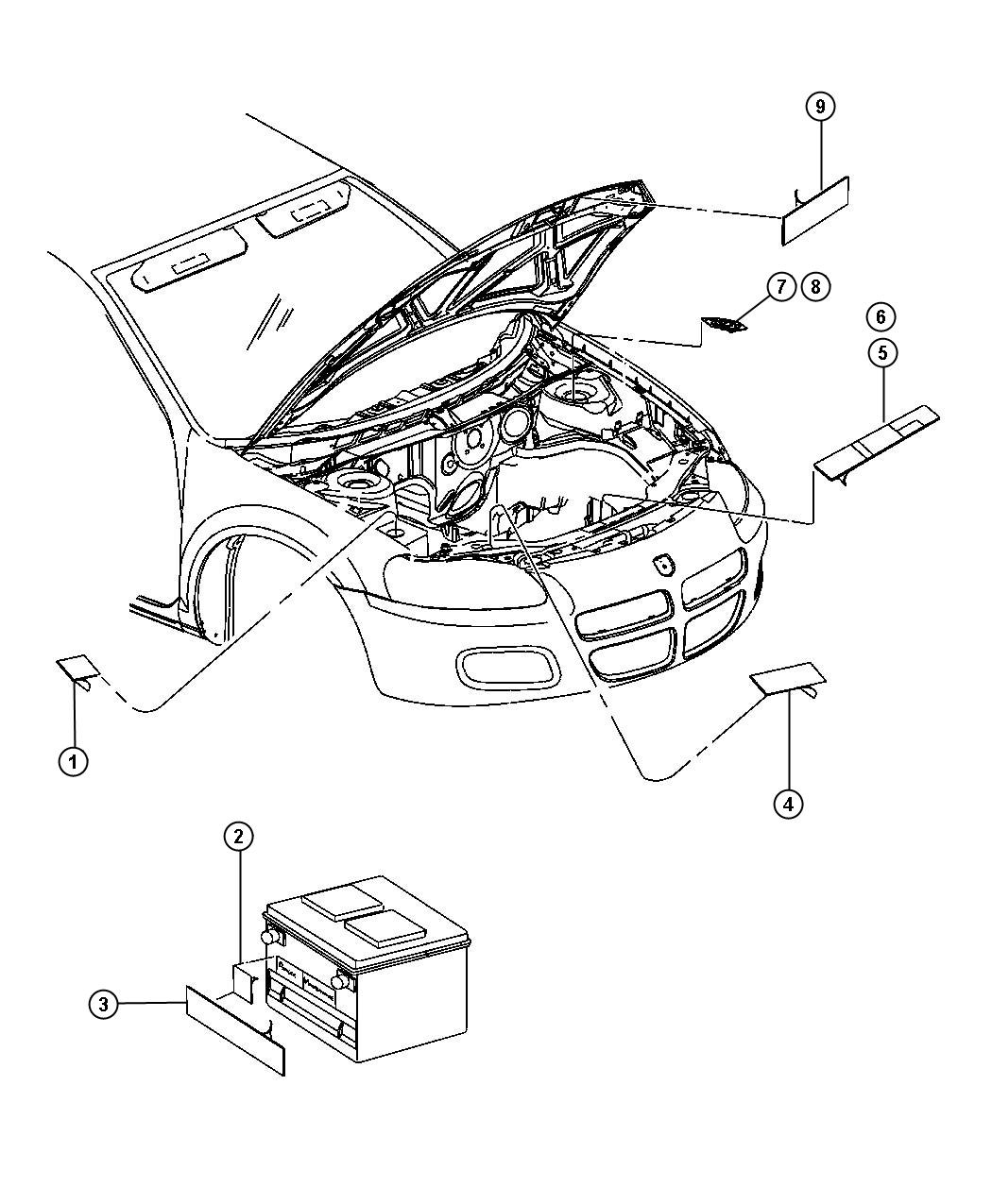 Chrysler Sebring Label. Used for: fan caution, a/c spec