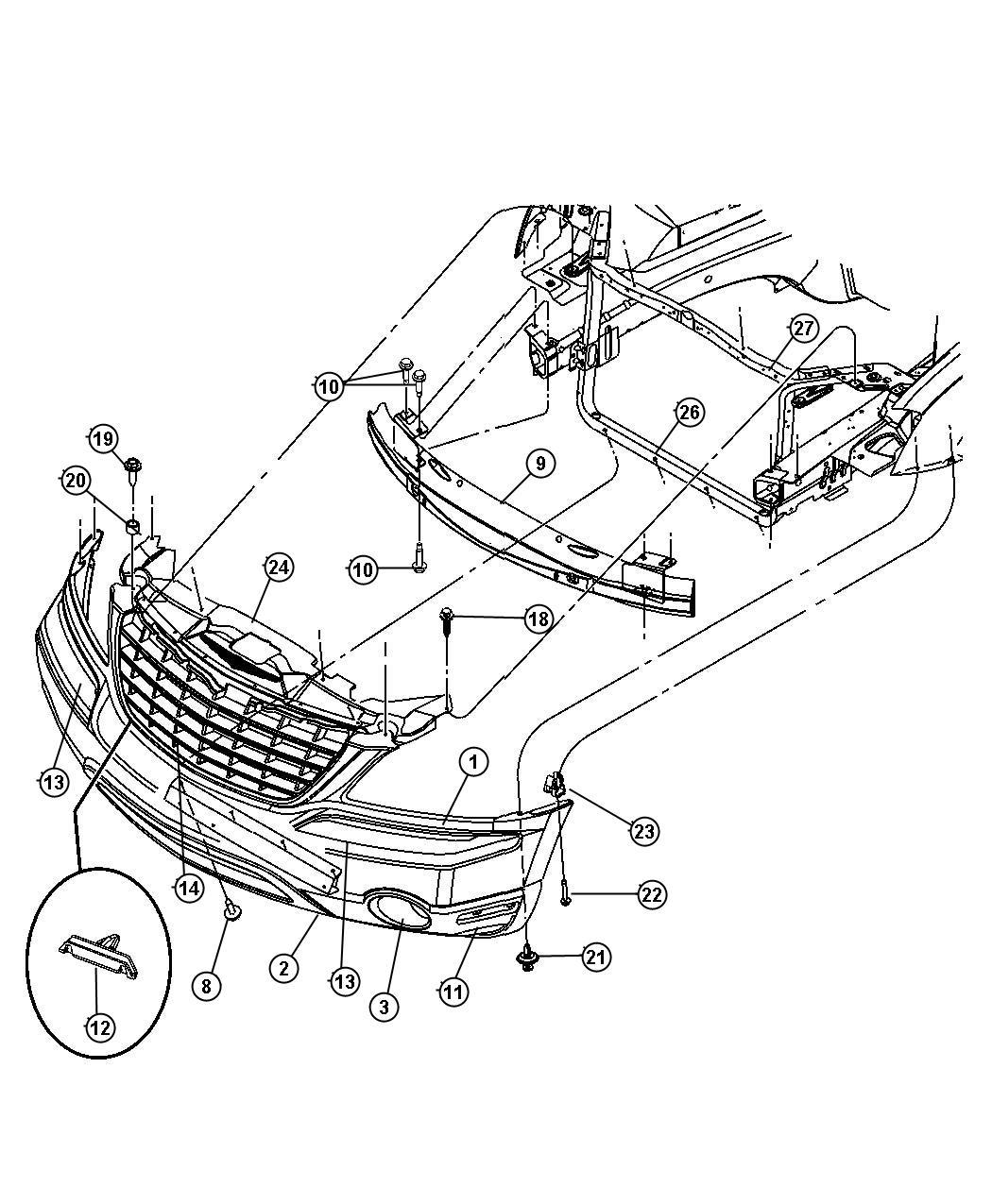 Chrysler Pacifica Plug. Fog lamp hole. Right. [kj