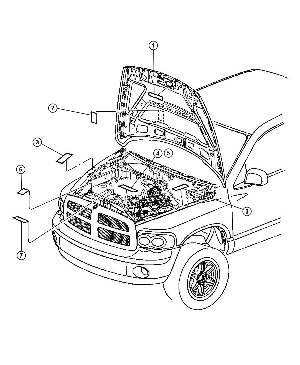 Dodge Ram 1500 Label. Air conditioning system. [engines