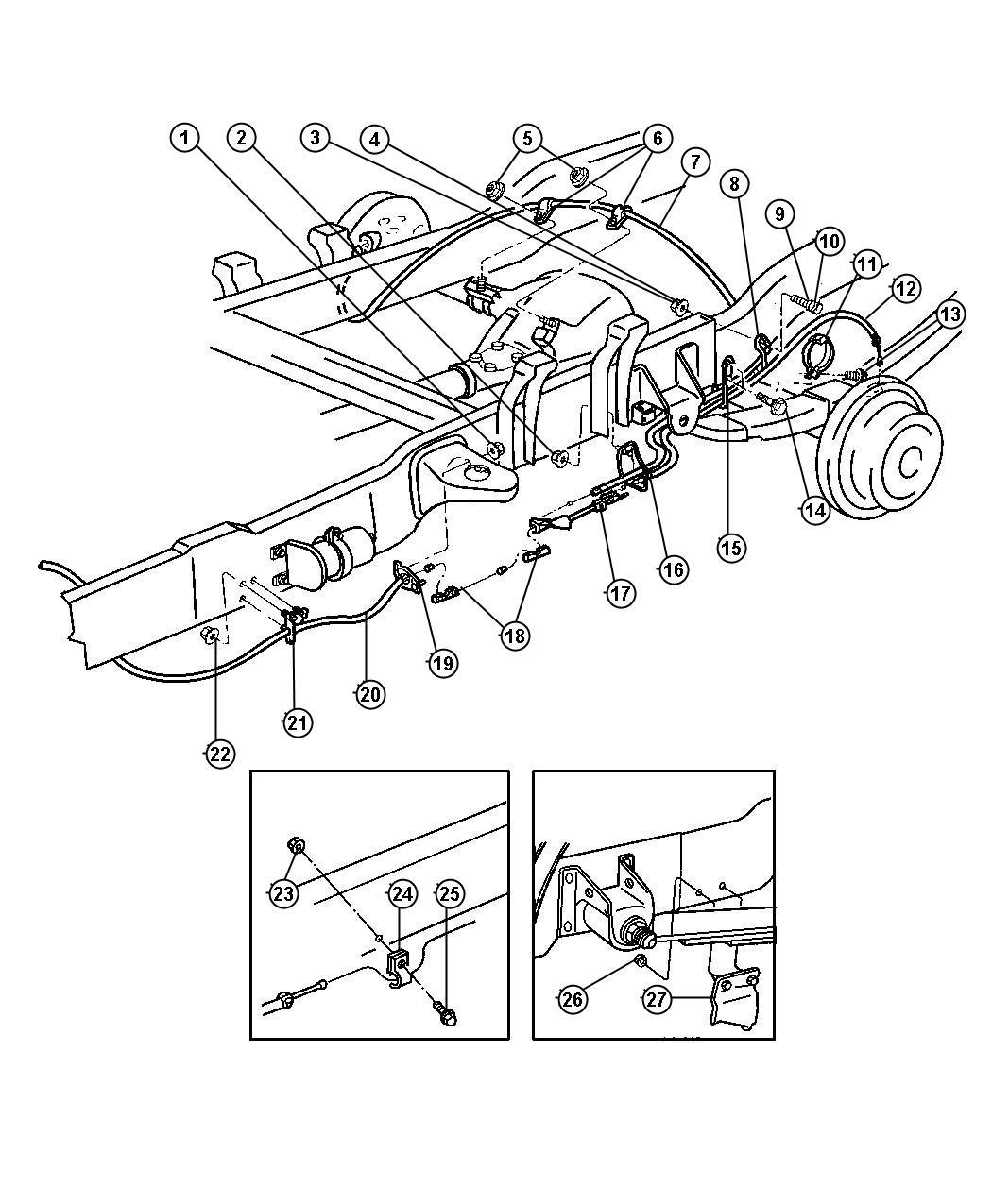 Dodge Ram 1500 Tensioner. Parking brake cable. Adjust