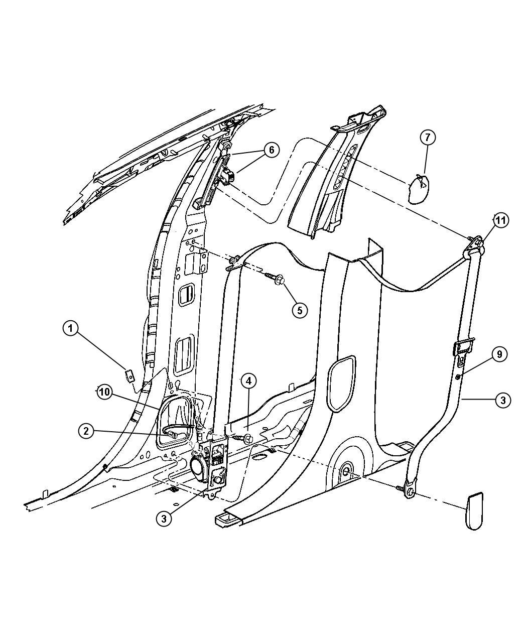Chrysler Pacifica Adjuster. Seat belt turning loop. Trim