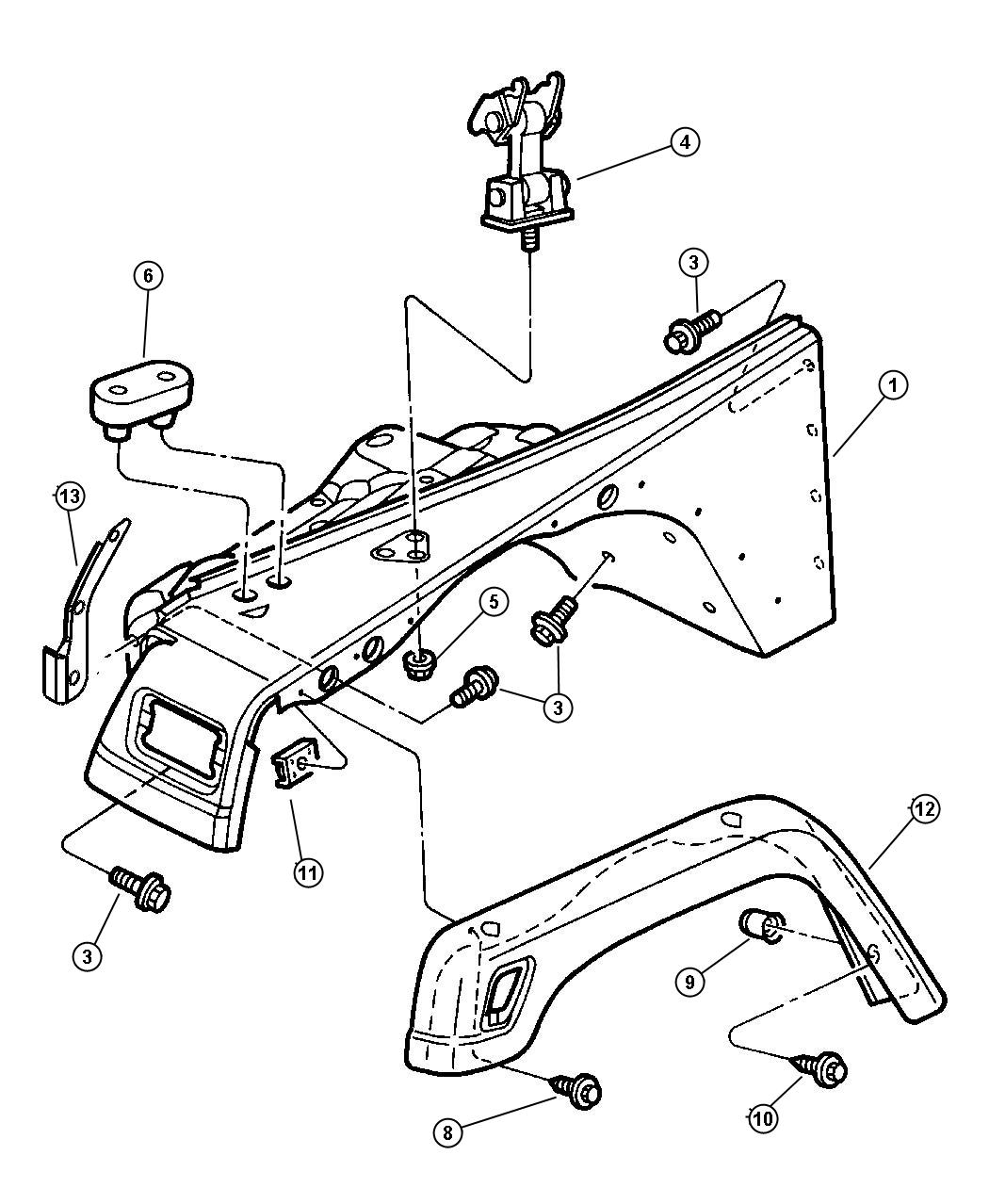Jeep Wrangler Extension. Fender. Right. [exterior