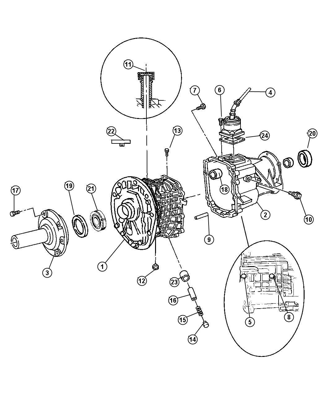Dodge Dakota Seal. Output shaft. 52108101ab, 52108101ad