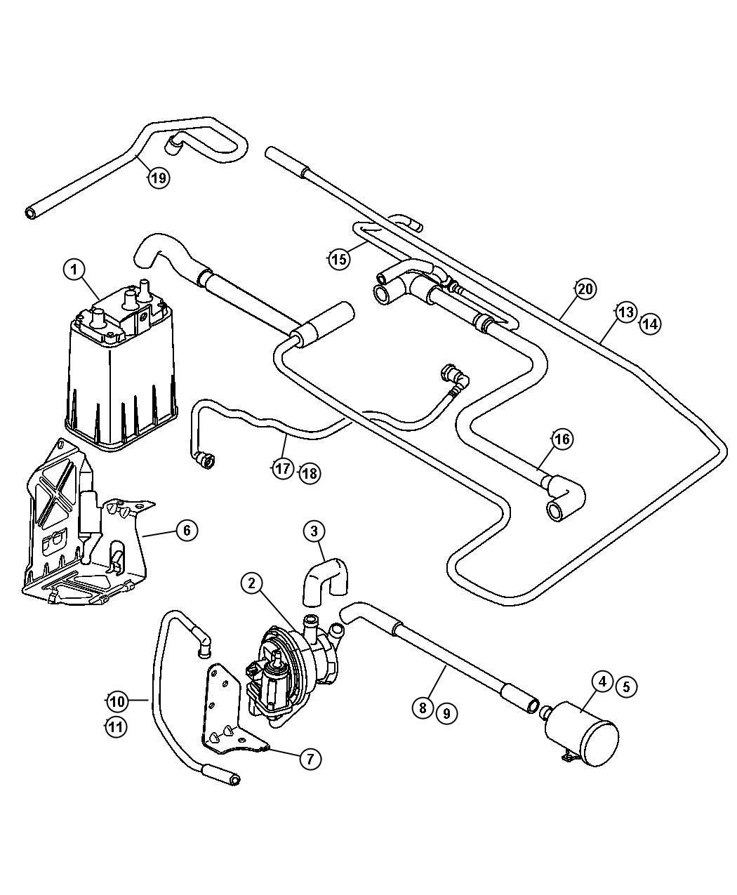 Chrysler Pt Cruiser Tube. Nvld to fuel vapor vent filter