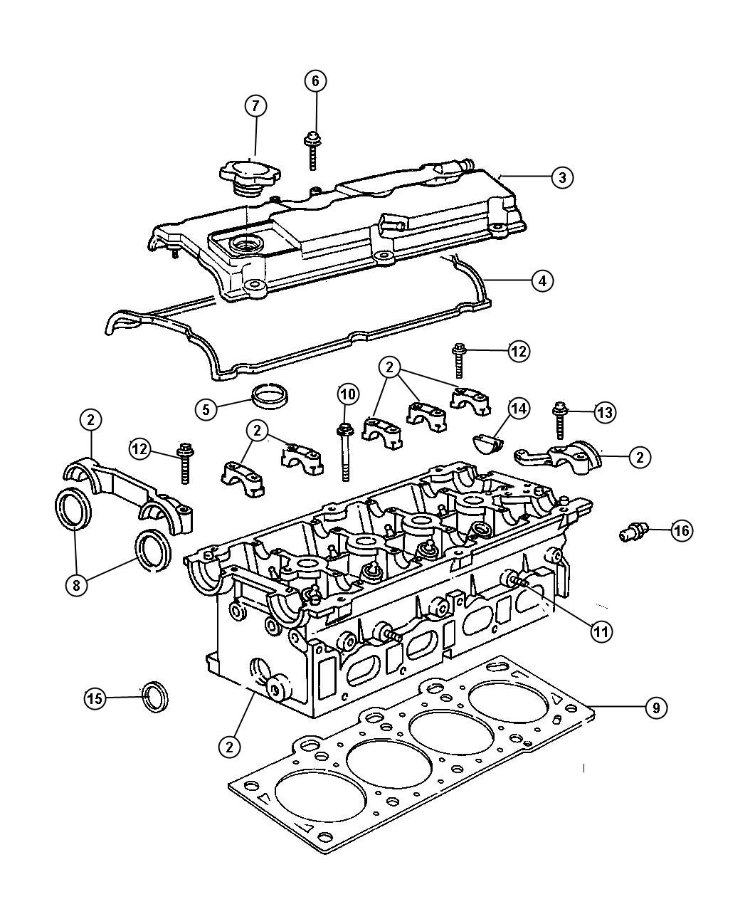 Chrysler Pt Cruiser Gasket. Cylinder head cover, valve