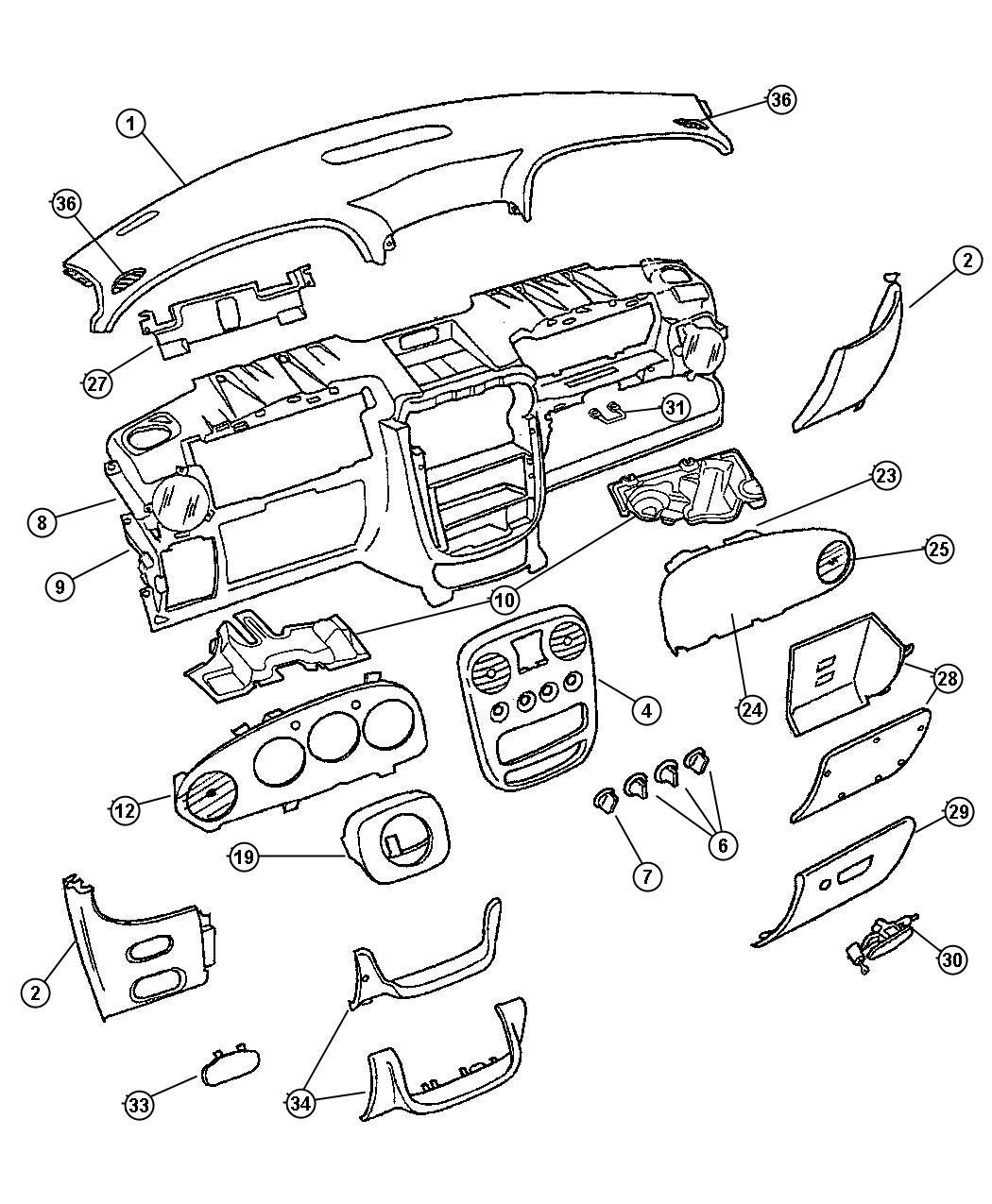 Chrysler Pt Cruiser Cover. Fuse access. [dv]. Trim: [all