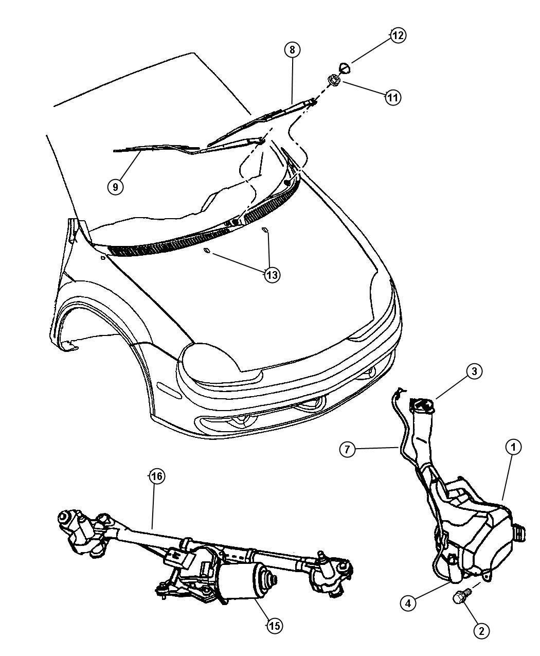 Chrysler Pt Cruiser Connector. Washer hose. Elbow type