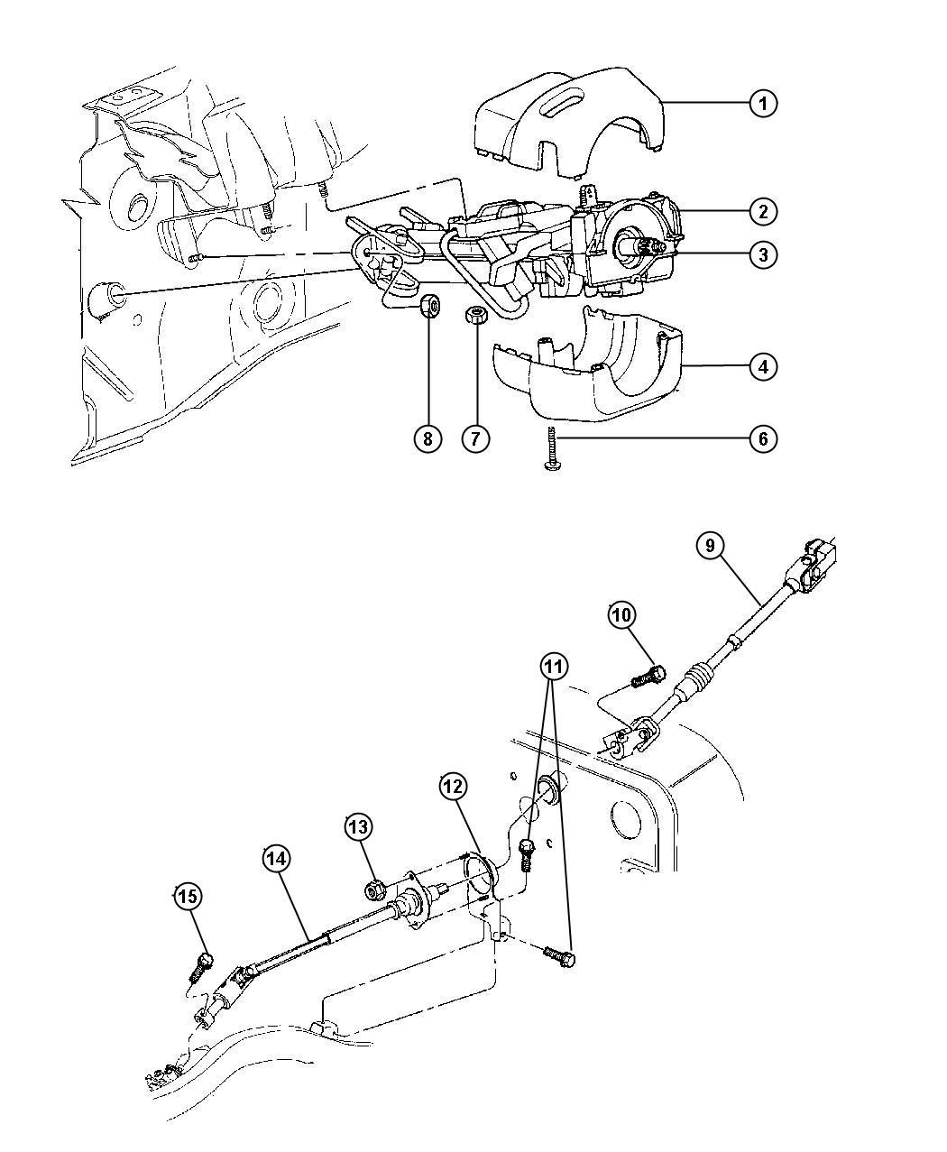 Jeep Wrangler Shroud. Steering column. Upper. Trim: [all