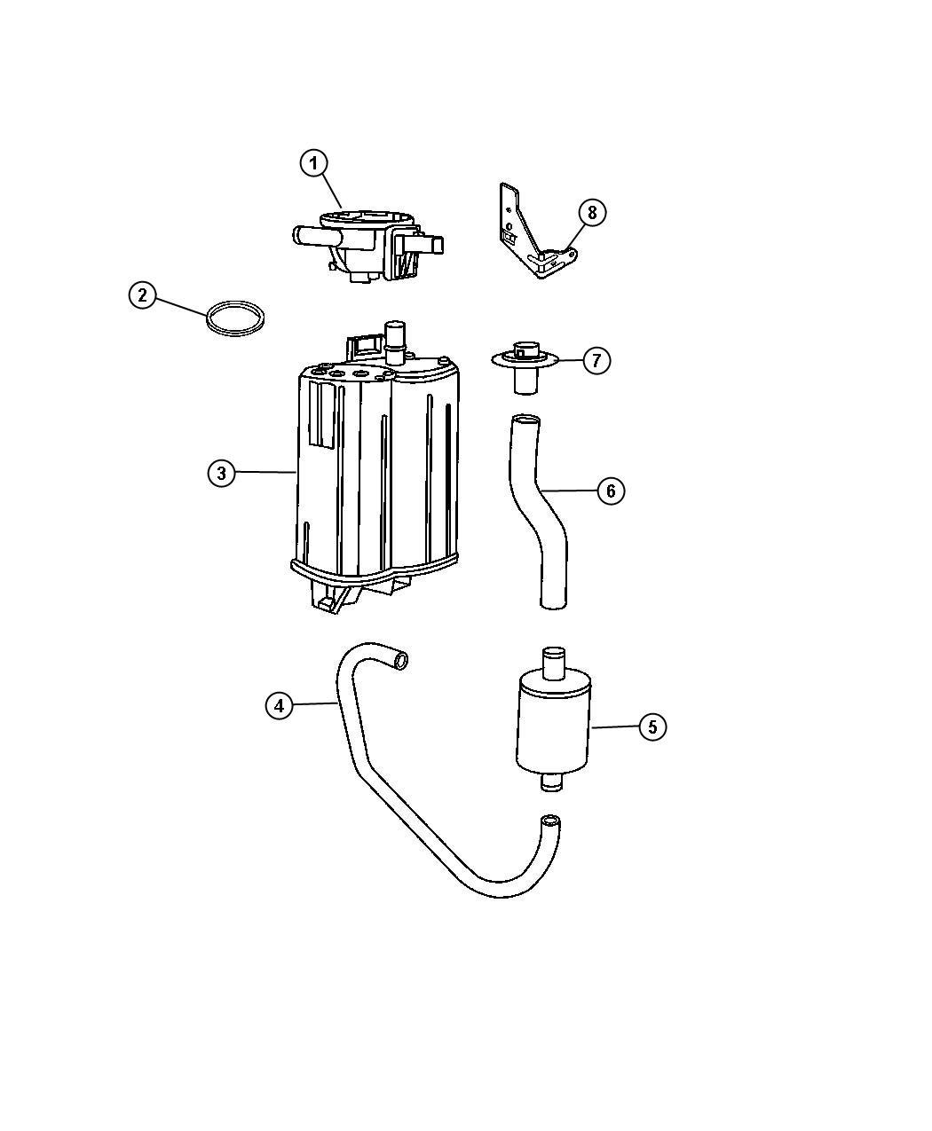 2004 Dodge Durango Vacuum Canister and Leak Detection Pump.