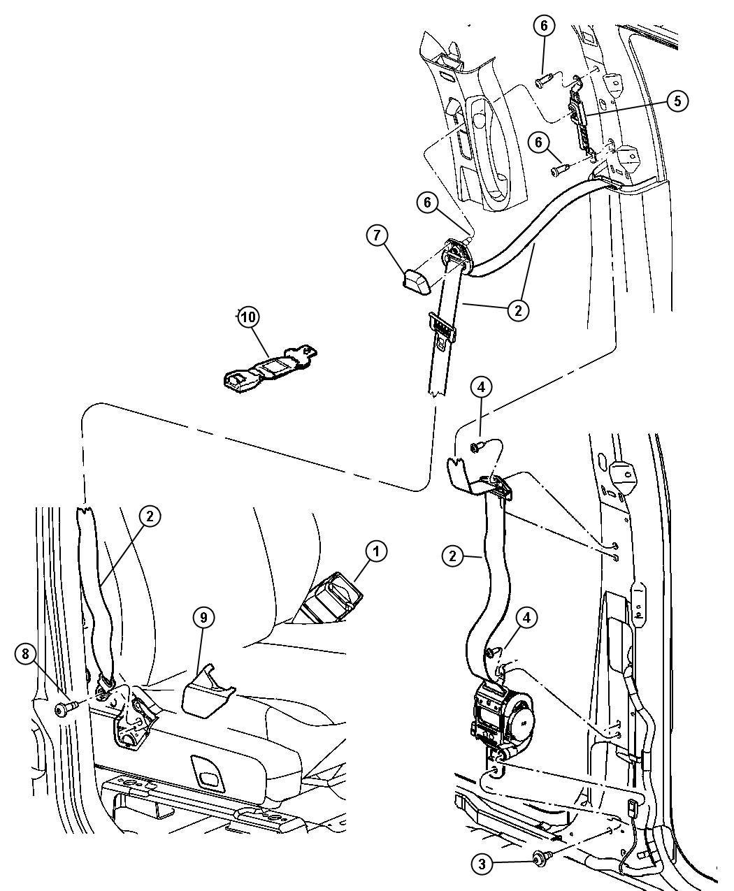 Dodge Durango Cover. Seat belt anchor. Right. [j1]. Trim