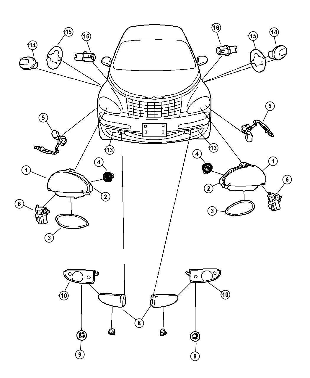 Chrysler Pt Cruiser Module Headlamp Left Export
