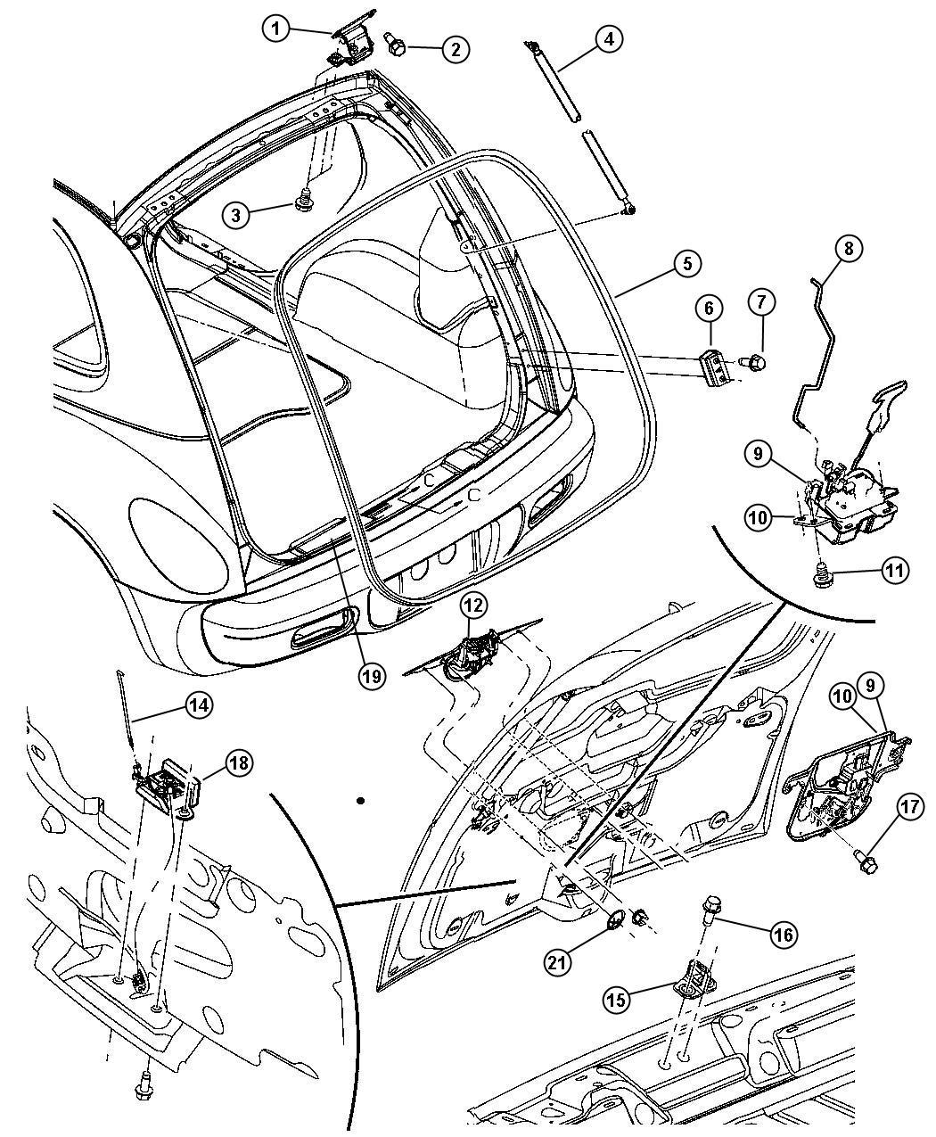 Chrysler Pt Cruiser Bezel, handle. Liftgate, pullcup. [dr