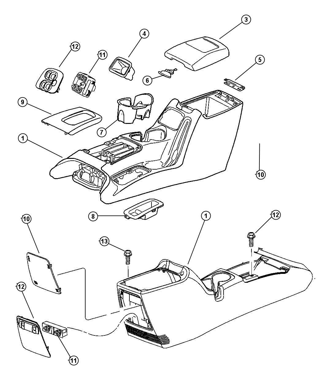 Jeep Wrangler Ash receiver. Floor console. Trim: [all trim