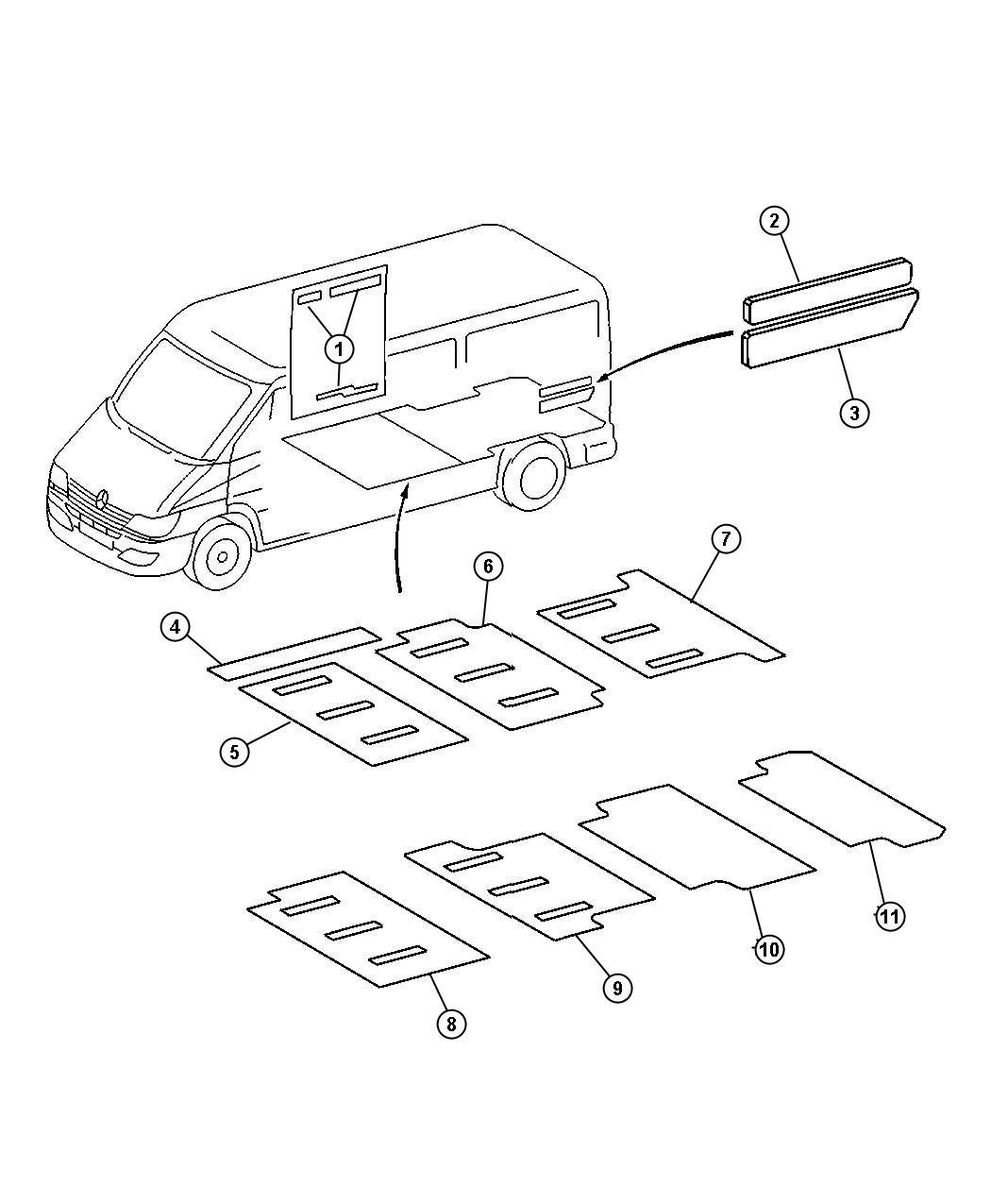2005 Dodge Sprinter 2500 Insulation. Floor. Wheelbasewood