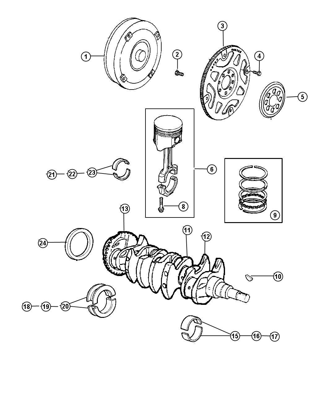 Chrysler Pt Cruiser Bearing Kit Crankshaft 025mm