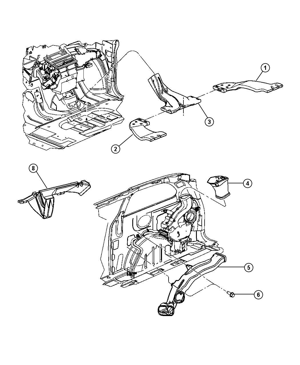 Chrysler Town & Country Duct. Floor distribution. Right