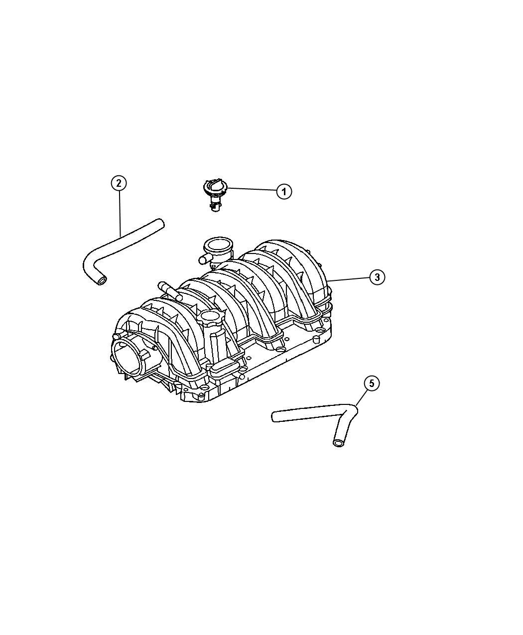 2005 Chrysler 300 Hose. Cylinder head to intake manifold