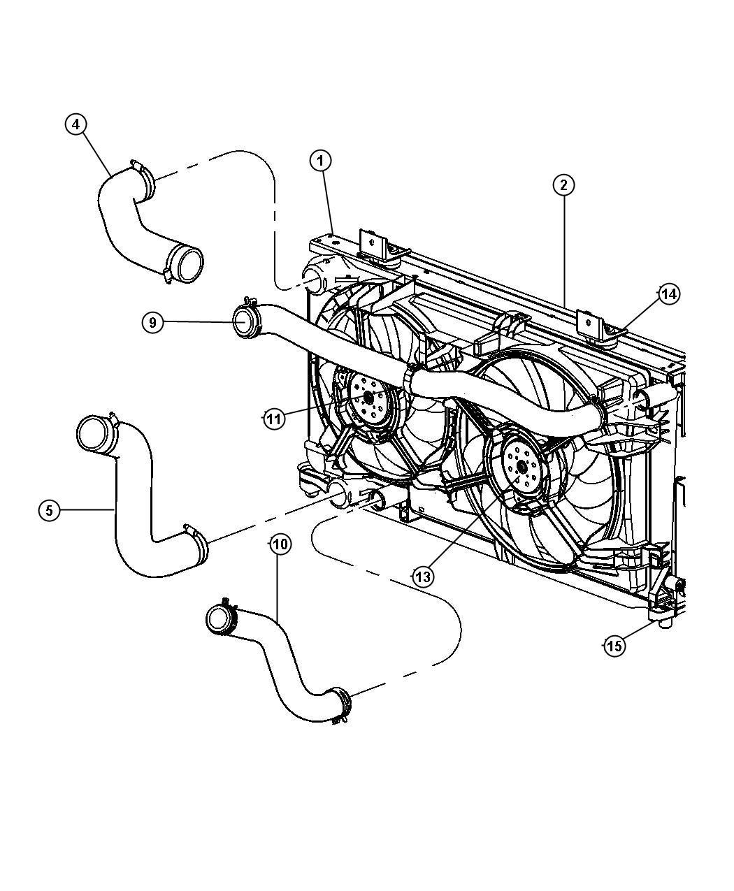 Dodge Caravan Radiator. Engine cooling. Magneti-marelli