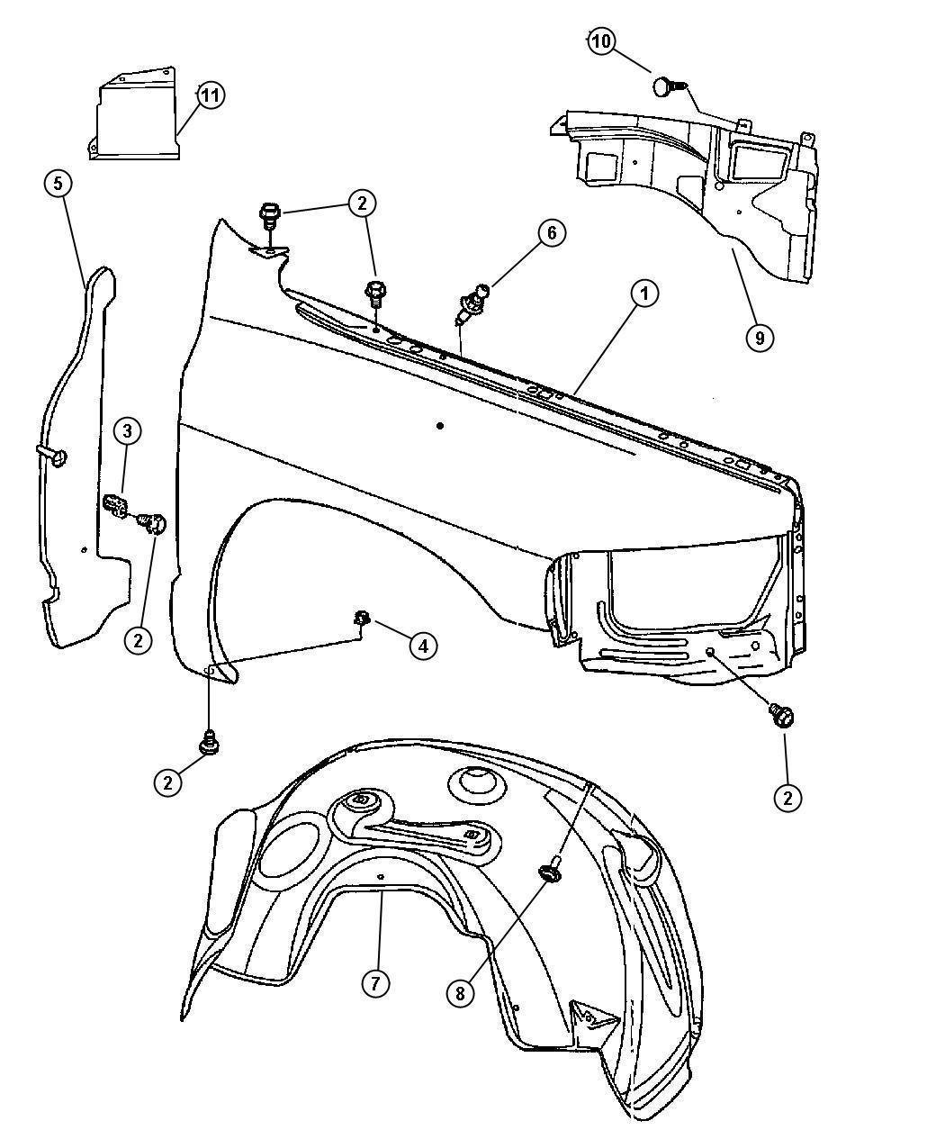Dodge Ram Panel Fender Right Srt 10