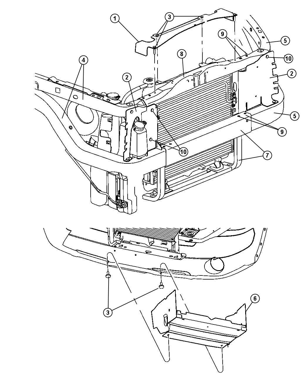 Dodge Dakota Seal Radiator Upper