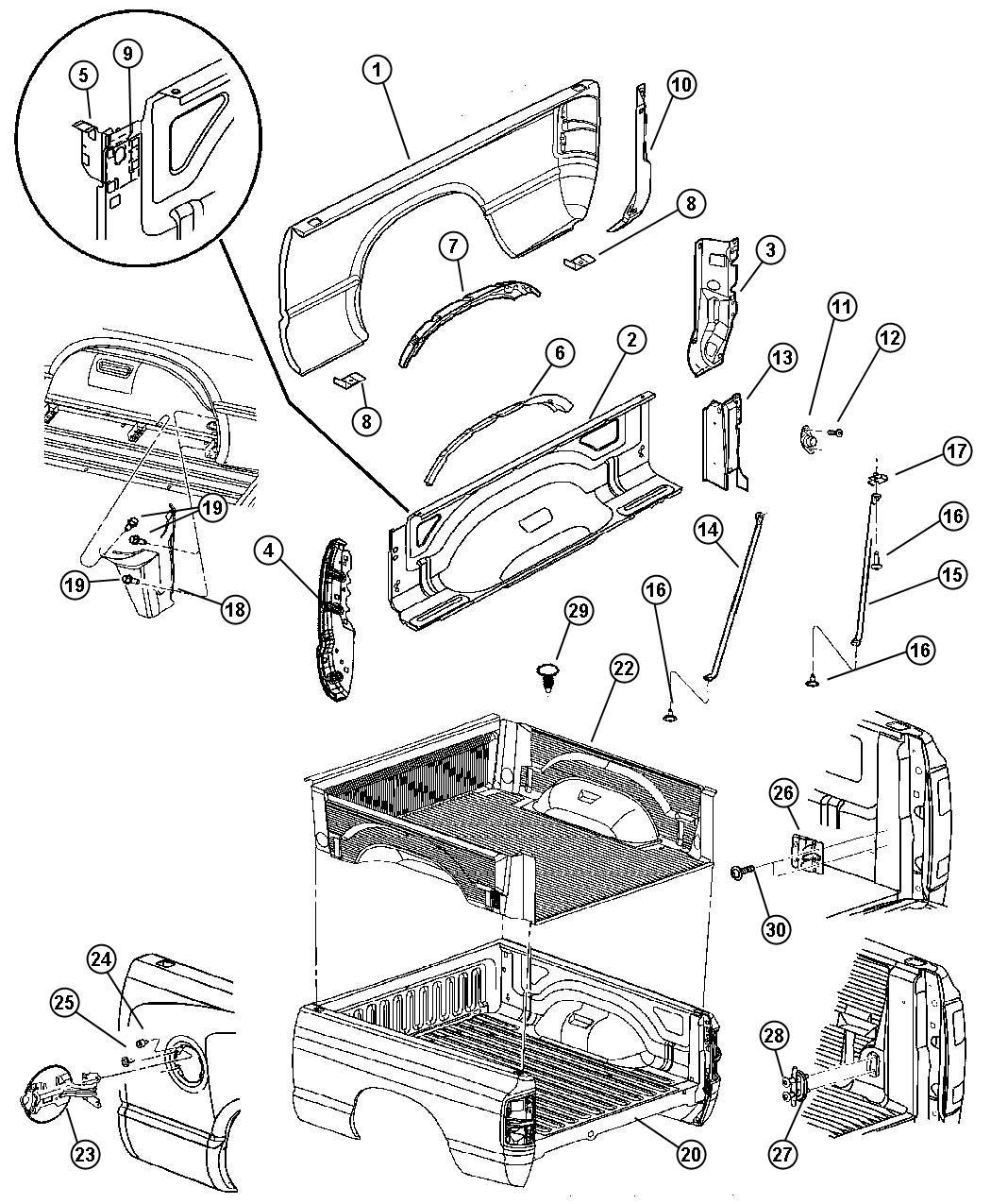 Dodge Ram 3500 Bedliner kit. Under rail. 6.5 foot