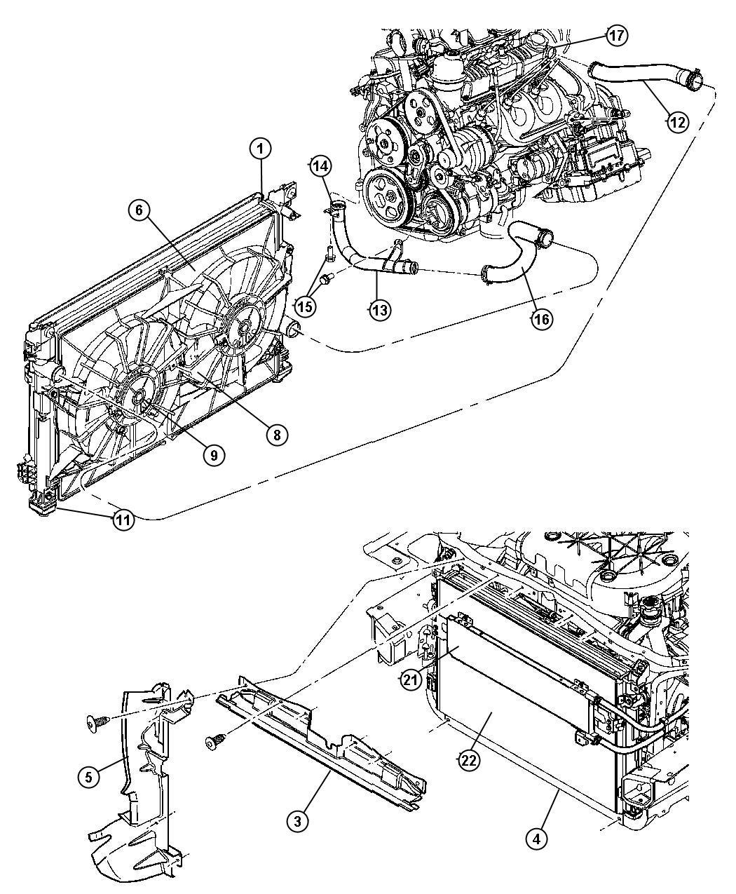 Chrysler Pacifica Clip. Radiator fan shroud. Bottom, lower