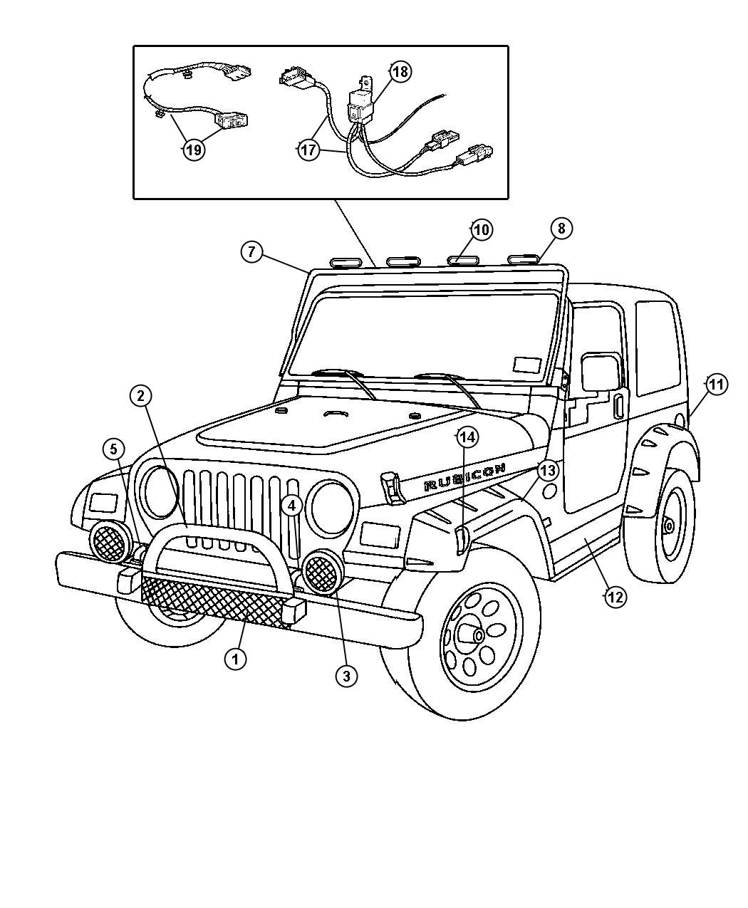 2003 Jeep Wrangler Black mesh-style lens cover for Round