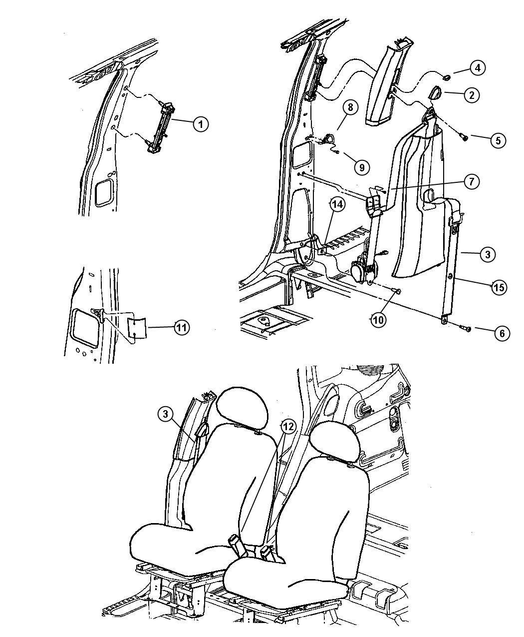 Chrysler Pt Cruiser Seat Belt Front Outer Right Fl