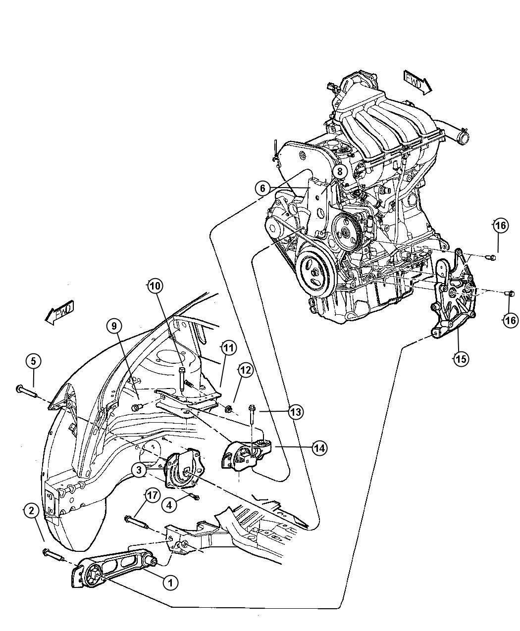 2004 Dodge Neon SXT 2.0L 4 Cyl A/T Bolt, screw. Socket