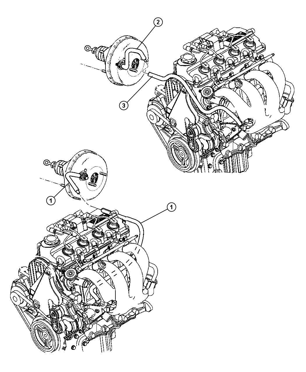 Dodge Neon Hose Tube Brake Brake Booster Vacuum