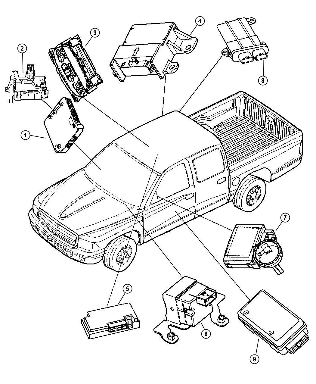 Dodge Module Receiver Immobilizer Keyless Entry