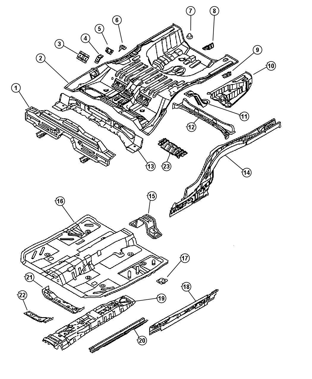 Chrysler Sebring Sidemember. Floor. Right, right hand