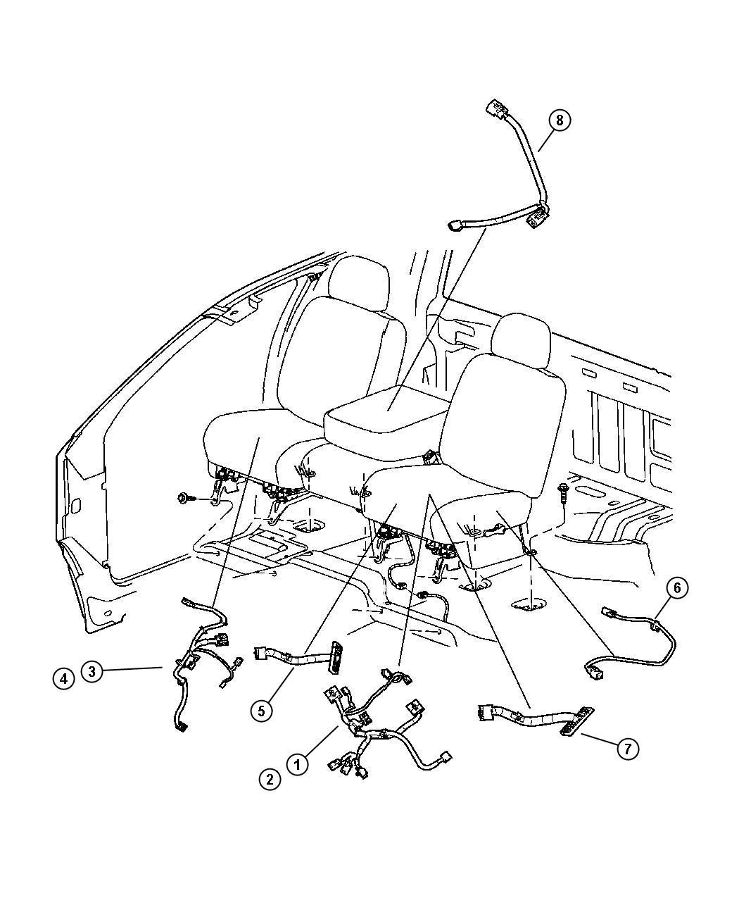 2005 Dodge Ram 1500 Wiring. Jumper. Power seat. Left, left